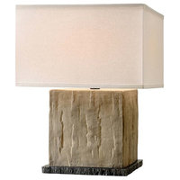 "La Brea 20"" Cube Table Lamp, Sandstone Finish, Off-White Linen Shade"