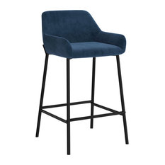 "Set of 2, Velvet Fabric 26"" Counter Stool, Blue"