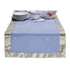 Gray - Hand Crafted Table Runner (India) - 18 X 108 Inches