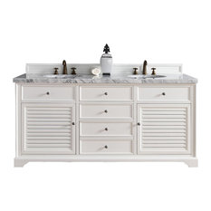 "Savannah 72"" Cottage White Double Vanity 2CM Galala Beige Marble Top"