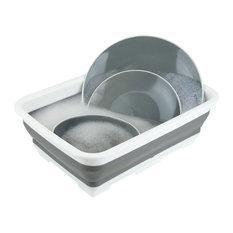 Collapsible Silicone and Plastic Multi-Purpose Storage Washing Basin, Gray