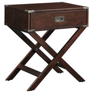 5c279fe1c9 Wood and Metal 2 Drawer Side Table Nightstand - Industrial ...
