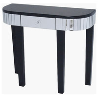31' Black Console Table with a Mirrored Glass Top and a Drawer