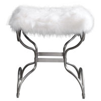 Channon Bench in Metallic Silver Leaf And Soft White