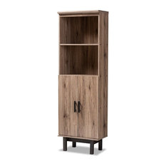 Arend Modern and Contemporary Two-Tone Oak and Ebony Wood 2-Door Bookcase