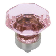 Cosmas Satin Nickel and Pink Glass Cabinet Knob