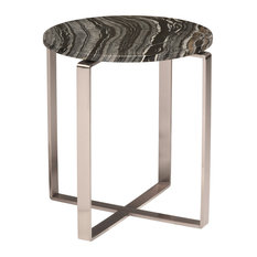 Rosa Side Table, Black Wood Vein Marbel and Polished Stainless Base