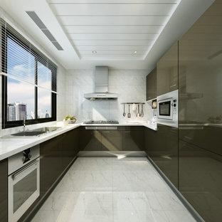 Dark Brown Lacquer Kitchen Cabinet