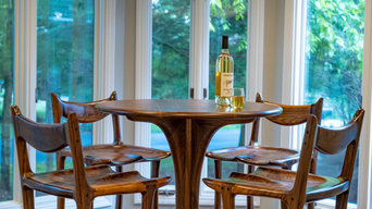 Our Perfecto Bar Stool, in walnut. A Maloof style sculpted chair.