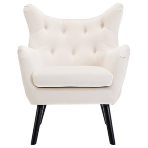 High Wingback Linen Armchair Contemporary Armchairs And Accent Chairs By Onebigoutlet Houzz