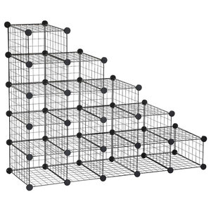Modern 16-Cube Modular Shoe Rack, Metal Wire Grid With Anti-Tipping Straps