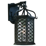 """Troy - Los Olivos, 8.75"""" Outdoor Wall Lantern, Old Iron Finish, Clear Glass - Fluorescent Lamping Info: 1 x 18W GU24 Fluorescent (Included)"""