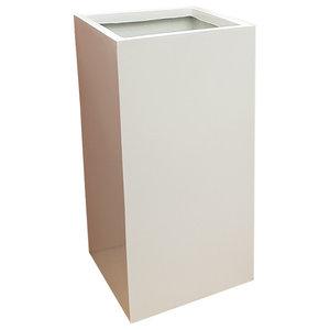 Glossy White Tower Fibreglass Planter, 30x30x60 cm