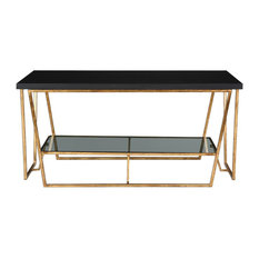 My Swanky Home   Gold Metal Marble Top Angle Modern Coffee Table, Black  Shelf Open