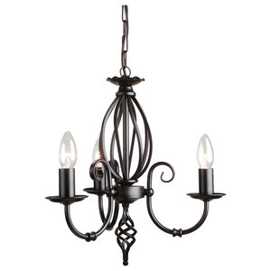 Traditional Black 3-Arm Chandelier With Knot Detail