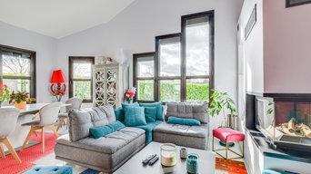 Maison contemporaine. Rénovation et décoration d'un salon/séjour