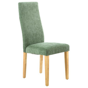Fleck Wave Back Dining Chairs, Olive Green and Natural Wood, Set of 2