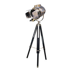 Old Hollywood Studio Directors Lamp, Chrome with Black Tripod Stand
