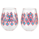 """Enesco - """"Mughal"""" Set of 2 Acrylic Stemless Wine Glass by Lolita - his Indian inspired stemless acrylic wine glass will take you on a cultural journey. Patterned in cool reds and blues, this Mughal influenced chalice makes drinking more dynastic and fantastic."""