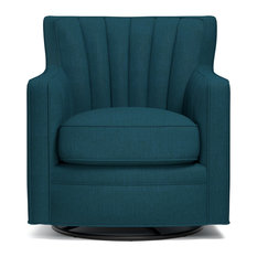 Handy Living - Zerk Swivel Arm Chair, Peacock Blue Linen - Armchairs and Accent Chairs