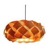 Wood Braids Hanging 3-Light Pendant Lamp, Cord Set- Type A