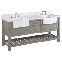 "Charlotte Vanity, Weathered Gray, 72"", Quartz Top, Double Sink"