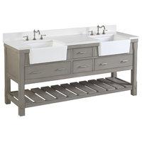"Charlotte Bathroom Vanity, Weathered Gray, 72"", Quartz Top, Double Sink"