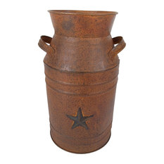 "11.5""H Rust Milk can with punched star"