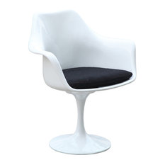 Fine Mod Imports Flower Arm Chair, White