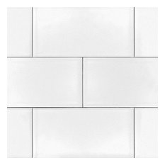 "Subway Backsplash Tile, Shiny Gloss, 3""x6"""