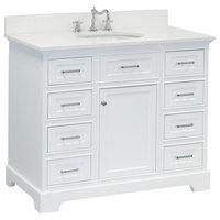 "Aria Bathroom Vanity, Base: White, 42"", Top: Quartz"