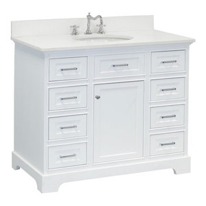 "Aria Bath Vanity, Base: White, 42"", Top: Quartz"