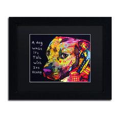 """Dean Russo 'Gratitude Pitbull' Framed Art, Black Frame, 11""""x14"""", Black Matte"""