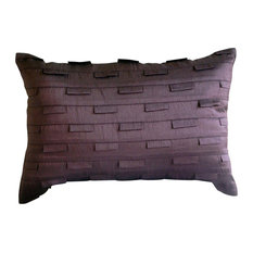 "Purple Art Silk 12""x18"" Solid Color Pintucks Pillows Cover, Plum Stripe"