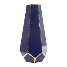 """Sagebrook Home Blue/Gold Faceted Vase 11"""""""