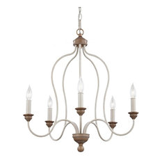 Feiss 5-Light Chandelier, Chalk Washed / Beachwood