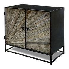 Kayden 2 Door Cabinet Solid Reclaimed Wood Iron Graphite Body Sheet