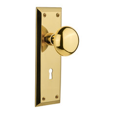 Single New York Plate With New York Knob, Unlacquered Brass