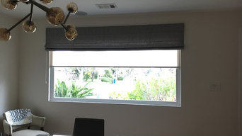 Layering treatment,  Roman shade over roller shade