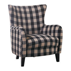 GDF Studio Arador Black And White Plaid Fabric Club Chair