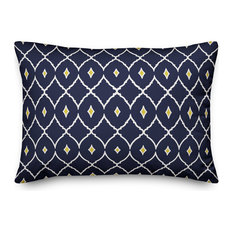 Navy and Yellow Diamond 14x20 Lumbar Pillow