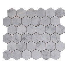 "12""x10""Carrara White Marble Mosaic Tile, Hexagon, Honed, Set of 5"
