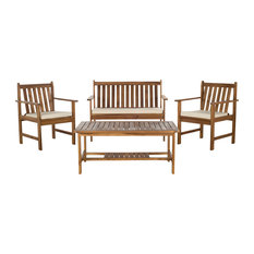 Safavieh Burbank 4-Piece Teak-Style Outdoor Living Set, Beige