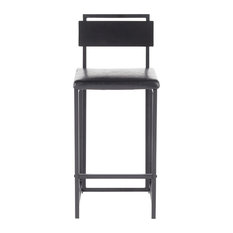 Gia Industrial Counter Stool Black Faux Leather And Black Wood Accent Set Of 2