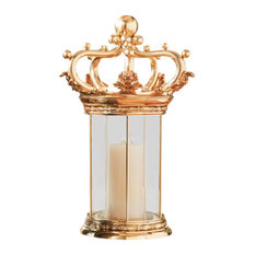 Dazzling Ornate Gold Crown Hurricane Candleholder | Sculpture Designer Luxury