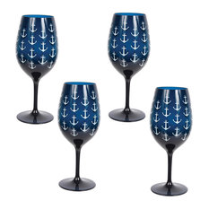 Acrylic Anchor Print Wine Glasses, Navy, Set of 4