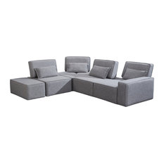 Divani Casa Chapel Modern Light Gray Fabric Sectional Sofa With Ottoman