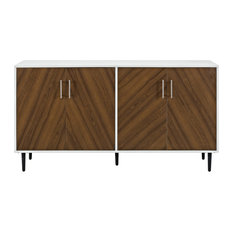 "Walker Edison 58"" Modern Bookmatch Buffet, White and Teak"