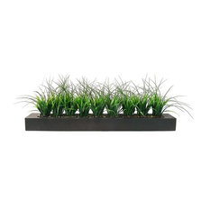 "Artificial Faux Lifelike Plastic 13"" Tall Green Grass, Black Wood Holder"