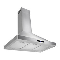 "AKDY 36"" Wall Mount Range Hood Stainless Steel Touch Panel, Duct/Pipe"